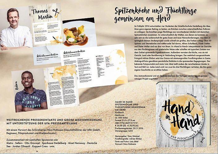 Kochbuch Hand in Hand. Spitzenköche und Flüchtlinge gemeinsam am Herd.