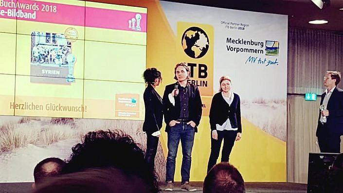 Fotojournalist und Autor Lutz Jäkel bei der ITB Book Award 2018 Preisverleihung in Berlin.