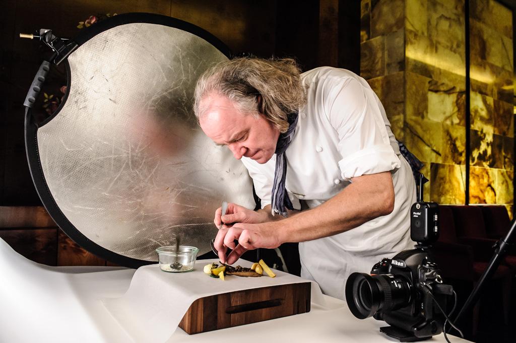 Set bei einem Food-Fotoshooting, hier mit Michael Hofmann
