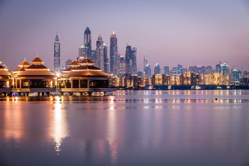 Vereinigte Arabische Emirate: Dubai. The Palm. Blick auf Dubai Marina